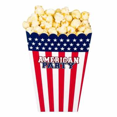 4x popcorn bakjes/snoepbakjes usa/amerika thema 22