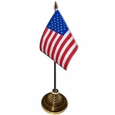 4x stuks tafelvlaggetjes usa/amerika voet 10 15