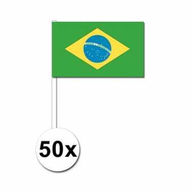 50 zwaaivlaggetjes braziliaanse vlag