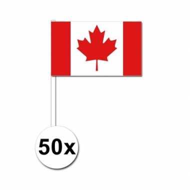 50 zwaaivlaggetjes canadese vlag