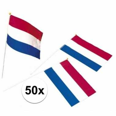 50x holland feest vlaggetjes rood/wit/blauw