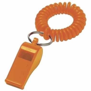 50x scheidsrechter fluitje oranje aan polsbandje