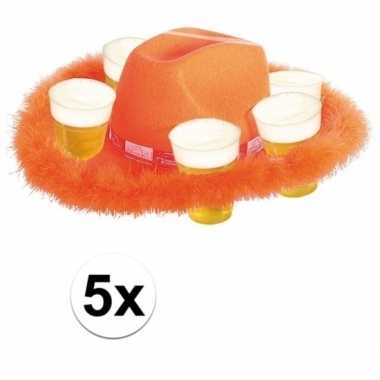 5x bonthoed oranje bierglazen