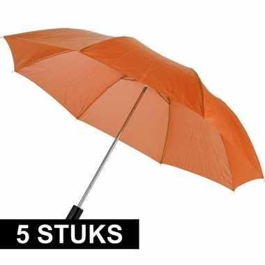 5x mini paraplus oranje 93