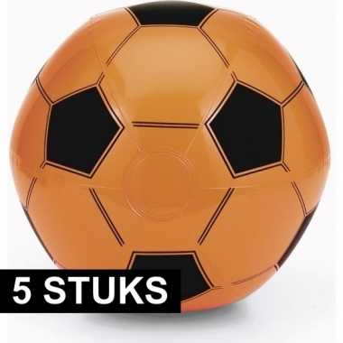 5x oranje fan voetbal strandbal