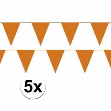 5x oranje vlaggenlijnen plastic