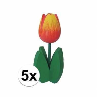 5x staande houten tulpen oranje