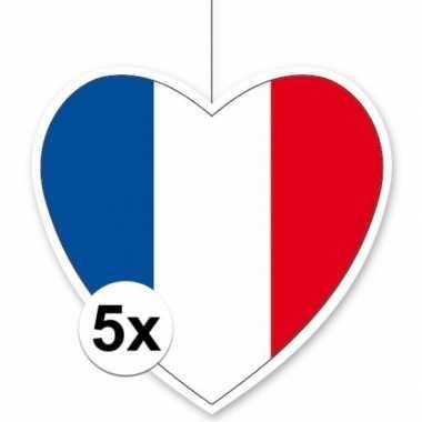 5x thema frankrijk hangversiering hart 28