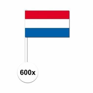 600x zwaaivlaggetjes nederlandse vlag