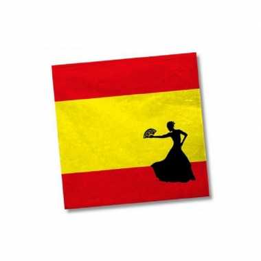 60x stuks spanje landen vlag thema servetten 33 33