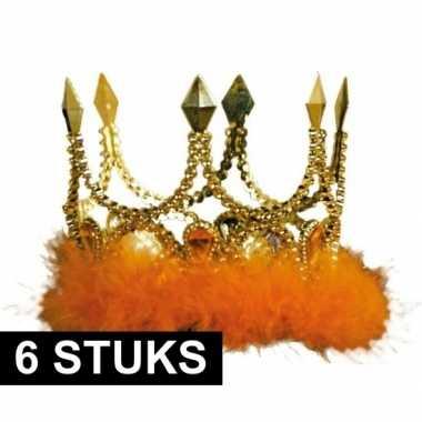 6x kroontjes oranje veren stenen