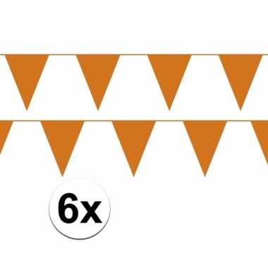 6x oranje vlaggenlijnen plastic