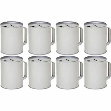 8x metalen inzamelings/collecte bus/box 13 zilver