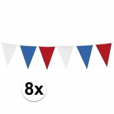 8x stuks rood wit blauwe vlaggetjes