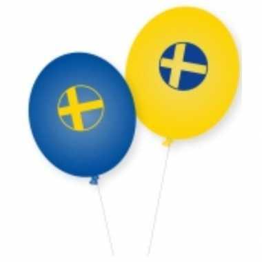 Ballonnen zweedse vlag 8 stuks