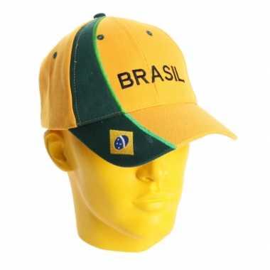 Baseballcap brazilie geel/groen