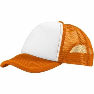 Baseballcap oranje/wit