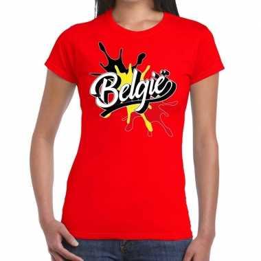 Belgie t shirt spetter rood dames
