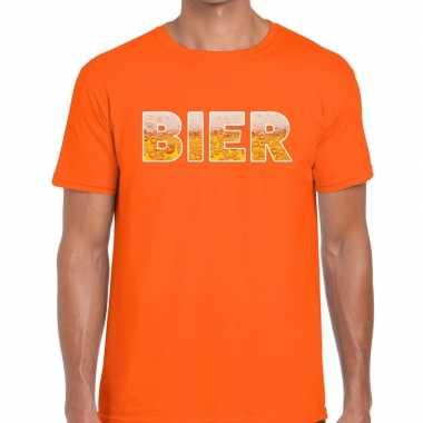 Bier tekst t shirt oranje heren