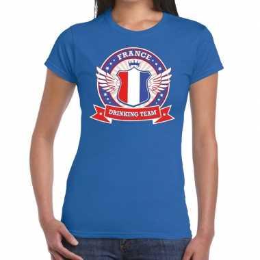 Blauw france drinking team t shirt dames