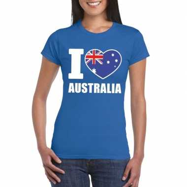 Blauw i love australie fan shirt dames