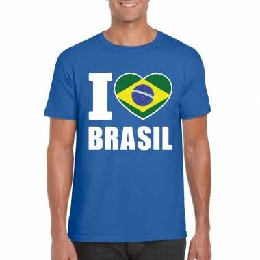 Blauw i love brazilie fan shirt heren