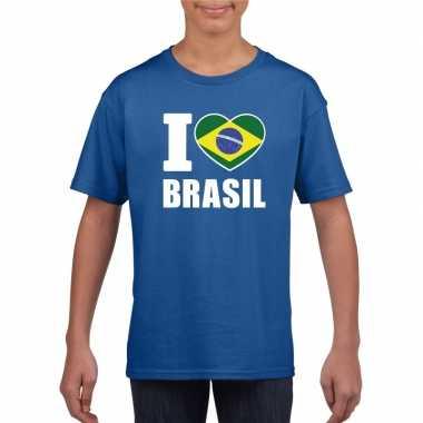 Blauw i love brazilie fan shirt kinderen