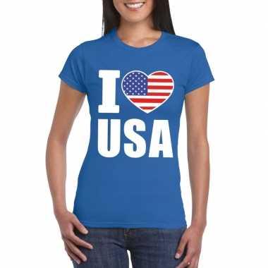 Blauw i love usa amerika fan shirt dames