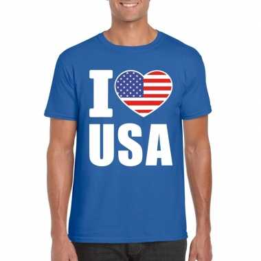 Blauw i love usa amerika fan shirt heren
