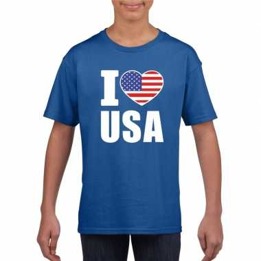 Blauw i love usa amerika fan shirt kinderen