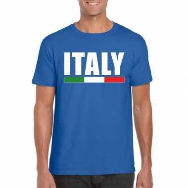 Blauw italie supporter t shirt heren