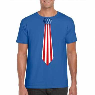 Blauw t shirt amerika vlag stropdas heren