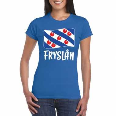 Blauw t shirt fryslan / friesland vlag dames