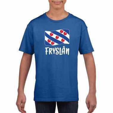 Blauw t shirt fryslan / friesland vlag kinderen