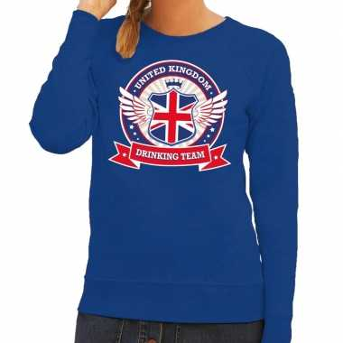 Blauw united kingdom drinking team sweater dames