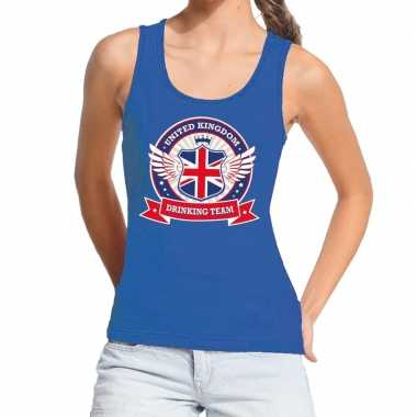 Blauw united kingdom drinking team tanktop/mouwloos shirt dames
