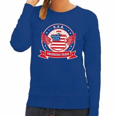 Blauw usa drinking team sweater dames