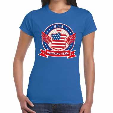 Blauw usa drinking team t shirt dames