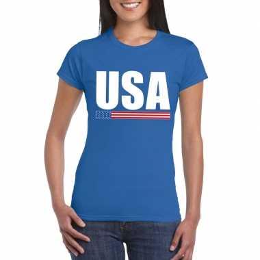 Blauw usa supporter t shirt dames