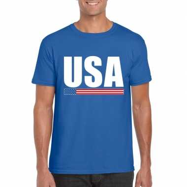 Blauw usa supporter t shirt heren