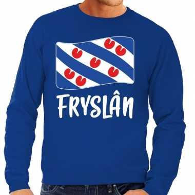 Blauwe trui / sweater fryslan / friesland vlag heren