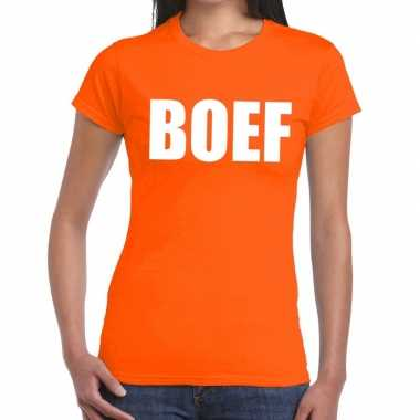 Boef tekst t shirt oranje dames
