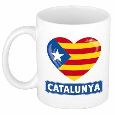 Catalaanse vlag hartje mok beker 300 ml