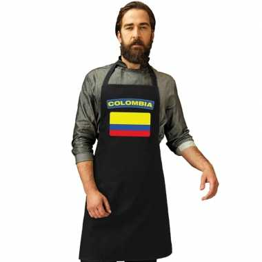 Colombia vlag barbecueschort/ keukenschort zwart volwassenen