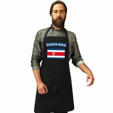Costa rica vlag barbecueschort/ keukenschort zwart volwassenen
