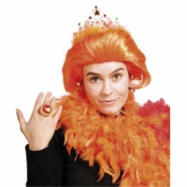 Dames pruik oranje beatrix kroontje