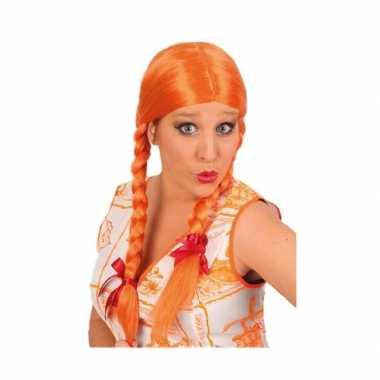 Dames pruik vlechten oranje
