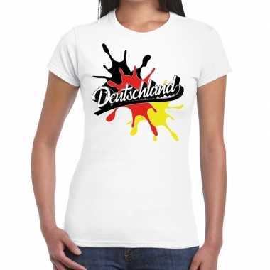 Deutschland/duitsland t shirt spetter wit dames