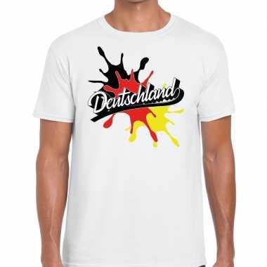 Deutschland/duitsland t shirt spetter wit heren