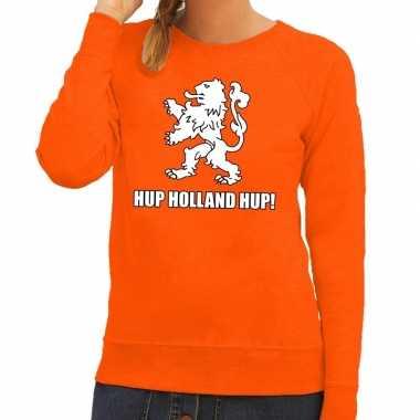 Ek / wk supporter sweater hup holland hup oranje dames